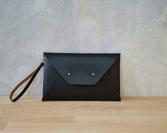 Brown leather clutch with strap / Envelope clutch bag / Leather bag available with wristlet / Genuine leather / Bridesmaids clutch