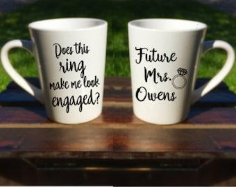 DoesThisRingMakemelookengaged/Future Mrs. Mug/Engagement Mug/Wedding Mug/Mrs. Mug/engagementgift/LatteMug/Gift for Bride/ Bridal Shower Gift