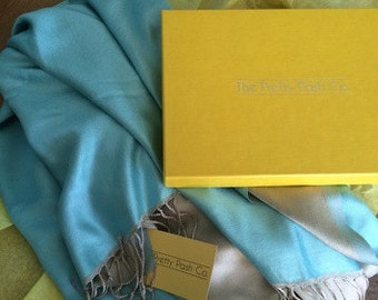 Blue and Gold Reversible Silk Pashmina Scarf Shawl