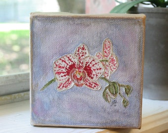 Orchid Painting   4x4 Canvas