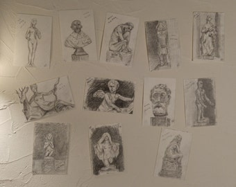 """A collection of postcards """"Statues of Louvre and Musée d'Orsay"""""""