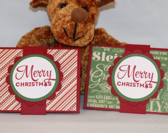 Set of 4 Handmade Christmas Gift Card Holder. Two in green, two in cherry red, 4 different designs all on cherry red card