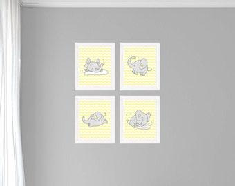 4 Elephants - Light Gray and Light Yellow - Prints