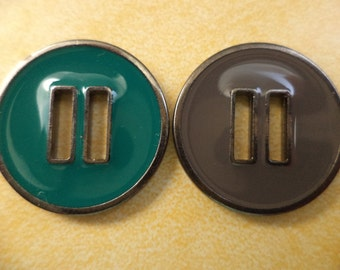 7 metal buttons gray green 23 mm (5368) gray green knobs metal