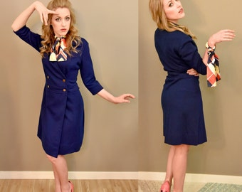 SALE!! Was 85.00 NOW 65.00!! - 1960's Royal Blue Nautical Dress with Scarf Made by Gerard.