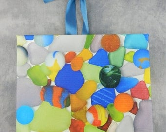 Bright Sea Glass and Sea Marbles on Canvas