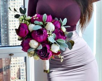 Fuchsia Wedding Bouquet, Silk Bridal Bouquet, Pink Peony Bouquet, Peony Bouquet, Silk Flowers, Wedding Flowers