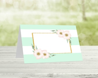 Mint&Gold Printable Food Tent Cards, Baby shower food, Tent cards, Buffet labels, Baby shower decor, Party decor, Baby shower food, Mint-001