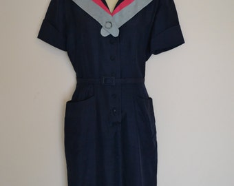 1940's Sailor Dress XS S blue and pink