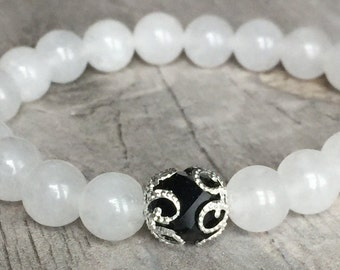 8mm White Quartz Gemstone Stretch Bracelet Womens Bracelet, Healing Bracelets, Yoga Brac