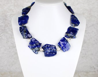 Gorgeous Lapis Lazuli Necklace Made of Rough Stones