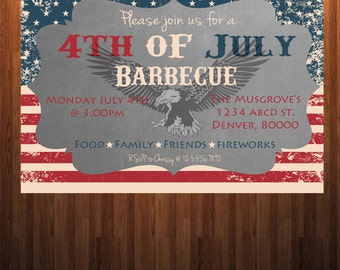 4th of July Barbecue Invitation, 4th of July Invitation, Fourth of July Invitation, Fourth of July BBQ Invitation, 4th of July Barbeque