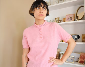 Vintage 60's Pink Nylon High Neck Button Up Shirt, Size Medium