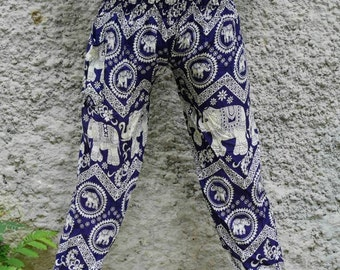 Navy clothes 1970s Hippie chic Maxi pants Elephant pants Relax pants Palazzo pants Thai harem pants Hippie wear
