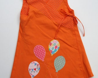 Reversible Wrap Dress with Balloon Applique' and matching Bandana