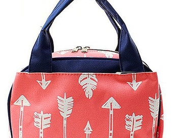 Monogrammed Coral Arrow Lunch Bag-Personalized Lunch Bag-Monogram Lunch Bag