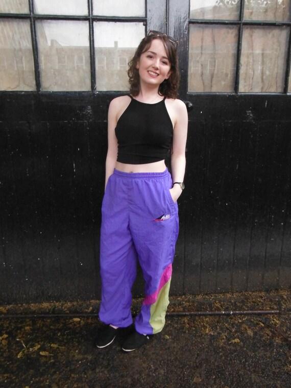 Vintage Purple Sports Trousers - Blue Pink Green - L XL 12 14