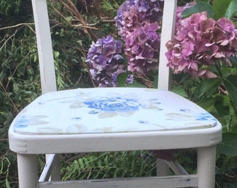 Now Sold ...... Vintage 1950s Painted Wooden Utility Chair covered in Cath Kidston Fabric