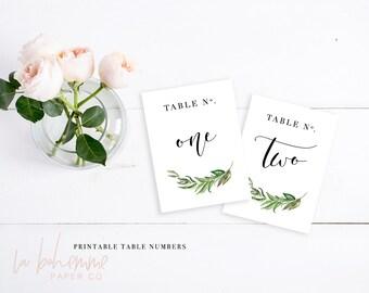 Printable Table Numbers / Wedding Table Numbers - Table Numbers 1-15  - Rustic Greenery
