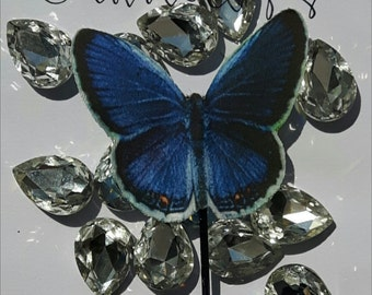 Indigo Butterfly Bobby Pin