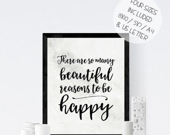 Marble print art, There are so many beautiful reasons to be happy, marble effect wall art, printable art, inspirational quote, office art