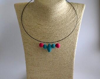Choker necklace handmade felt spirals turquoise and fuchsia