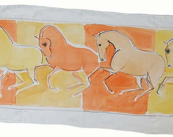 Original hand-painted horse-pattern silk scarf - Orange