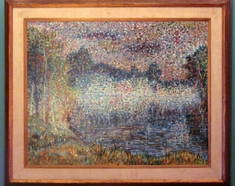 PAUL MELLIS Viennese Original Oil Painting Pointillism LANDSCAPE Pointillist