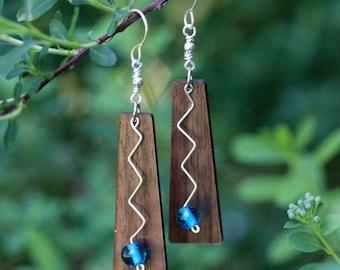 Laser Engraved Zig Zag Earrings