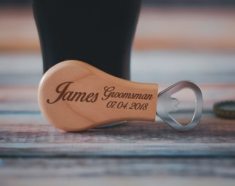 Custom Groomsman Bottle Opener, Maple Beer Opener, Groomsman Bottle Opener, Best Man, Groomsmen Gift, Engraved Wedding Gift, Bachelor Party