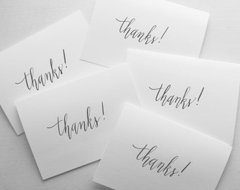 Pack of 5 Thanks! Handwritten Cards - Calligraphy - Modern Calligraphy