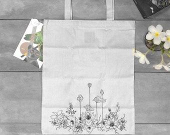 Organic Cotton Tote Bag Indian Lotus