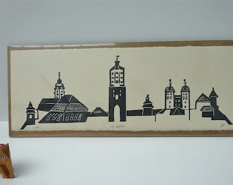 GZ skyline - handpulled screenprint, Günzburg, Bayern, Schwaben, townscape, Bavaria, Swabia, grey, relief style, small print