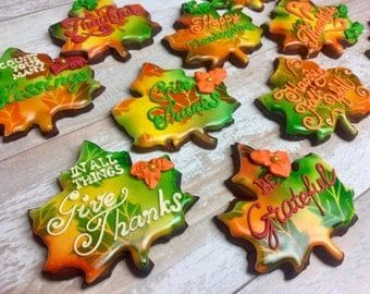 THANKSGIVING Day LEAF COOKIES (12)- Thanksgiving day cookies, Thanksgiving Dinner Favors, Grateful, Pumpkin cookies, Maple Leaf cookies