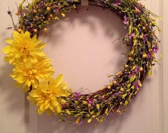 Yellow Dahlia Wreath