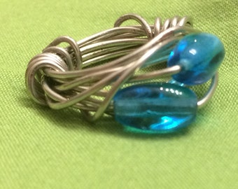 Double Blue Wrap Ring - size 1.25