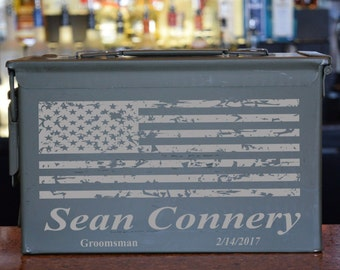 Wedding Ammo Box With Battered American Flag Over A Bold Name With Position and Date AC-010