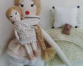 Handmade Doll, Heirloom Doll, Mom + toddler babe set