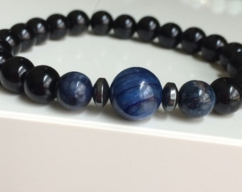 Men's High Quality Bracelet:  AA Black Onyx 8mm, Dumortierite 8mm, Hematite rondelles (4mm) and  High quality 10mm Kyanite- Free Ship in US