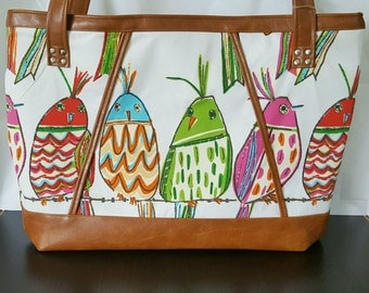 Pink Yellow Green Brown Faux Leather Handbag, Tote, Purse, Travel Bag, Diaper Bag, Laptop Bag, Large Handbag, Work Bag, Bird, Gift Idea