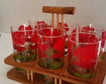 Vintage Red Rose Tumblers 1950 - 1960