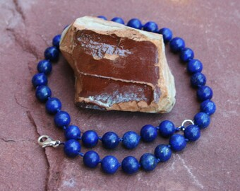 Simply Lapis Lazuli Knotted Choker With Sterling Silver Clasp-Also Size 6, 8, 12, 14, 16 mm Stones Available