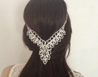 Luxurious Crystal Drop Bridal Hair Floater. Wedding Diamante Headpiece. Hair Jewellery.