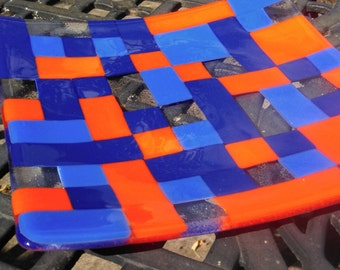 Sonia Delaunay-inspired fused glass dish