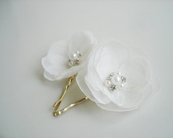 Ivory Wedding  Hair Pins Small Fabric Flowers With Crystals and Pearl Bridal  Hair Accessories Wedding Flower Girl Gift