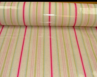 striped oilcloth tablecloth