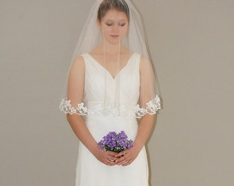 Two Tier Lace Veil - oval gather center top bridal veil with softl floral lace edge