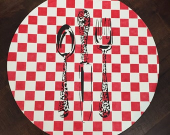 "18"" x 1"" lazy Susan Red and white checked kitchen silverware/utensils in black"