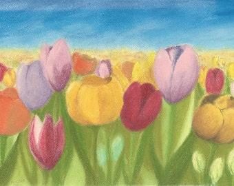 Original Pastel Painting - Tulip Field