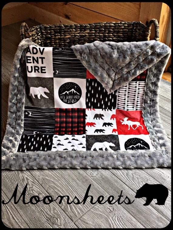 Mountain minky baby blanket lumberjack faux quilt mountain for Mountain crib bedding